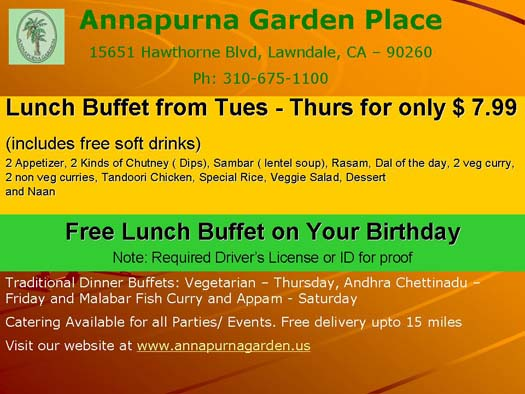 Lunch Buffet from Tues - Thurs for only